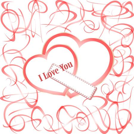 Grunge hearts with text I love you. valentines day Vector Vector