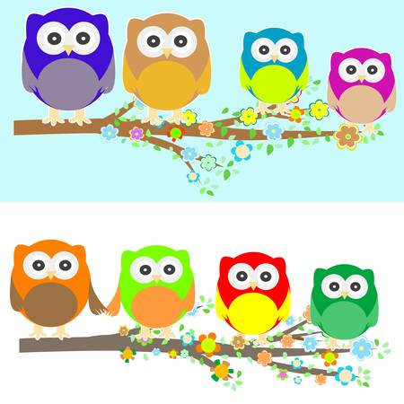 Family of owls sat on a tree branch at night and day Vector