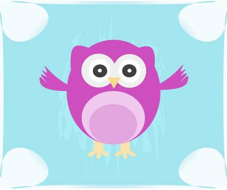 Cute Owl invitation card Vector