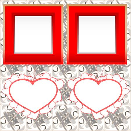 two blank instant photo frames with heart shapes on wood Vector