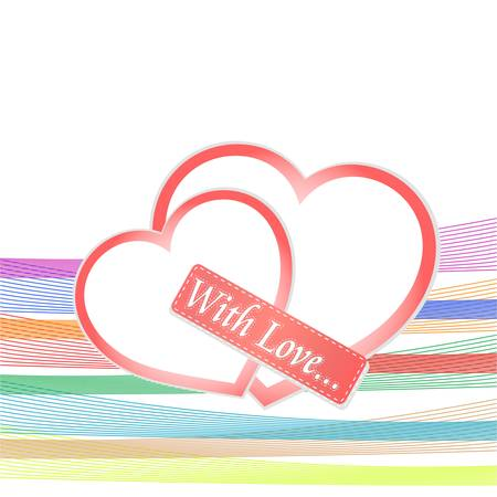 romantic background with two red hearts. valentines theme Stock Vector - 12221383
