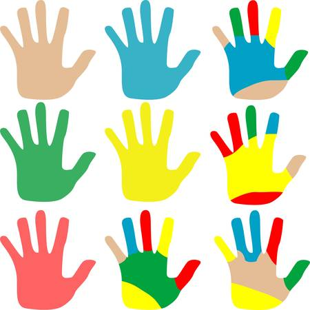 woman fist: hands multicolored set isolated on white background.