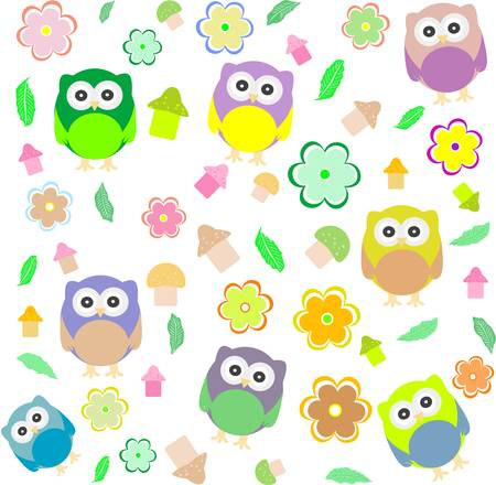 seamless background with spring elements - owls, mushrooms and flowers Vector