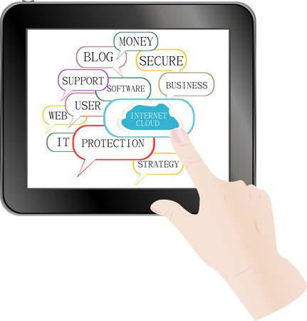 cloud computing and touch pad concept. hand touch the cloud. vector Vector