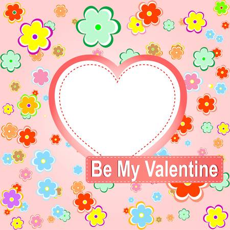 be my valentine scrapbook flower background with heart. Stock Vector - 12224043