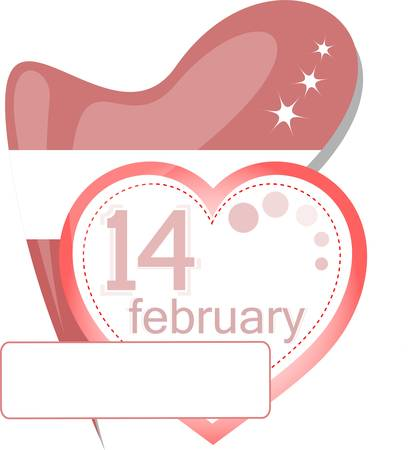 number 14: Valentine calendar icon. love heart invitation card Illustration