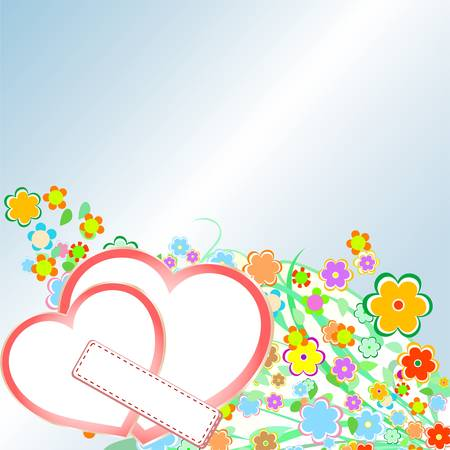 Roses and Hearts background. Valentine or Wedding Card Vector