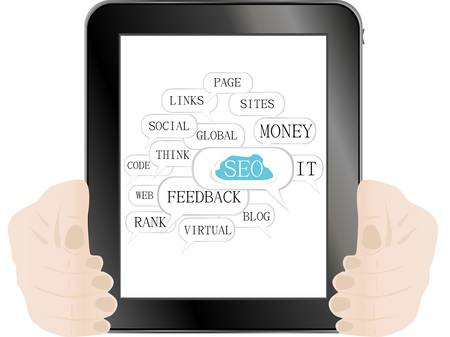 tablet pc with SEO sign and tags on social engine optimization theme Stock Vector - 12223961