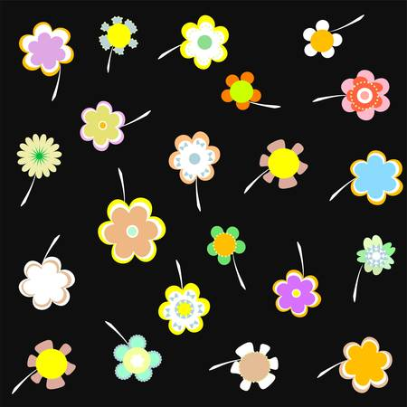 Decorative wallpaper with flowers on black background vector Vector