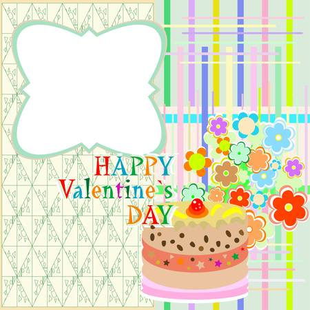 saint valentine`s cake and flowers. vector party or valentines occasion Vector