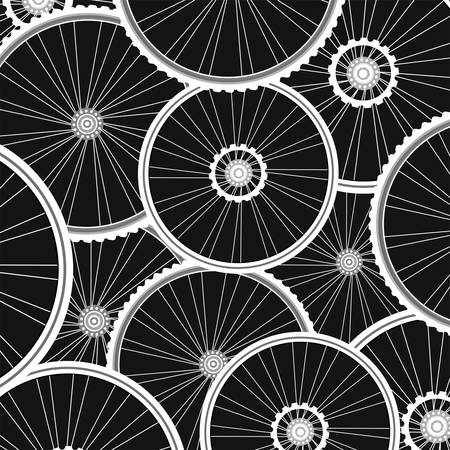 colour wheel: Bicycle background from many white wheels
