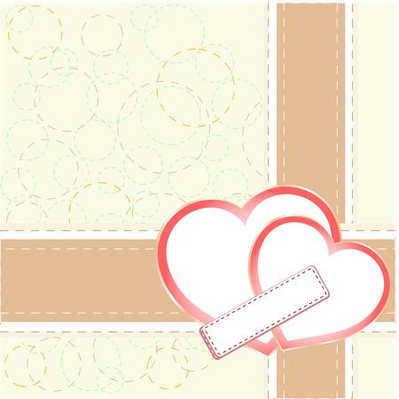 Vintage gift card with heart shaped space for text. vector Vector