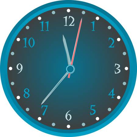 Vintage wall blue clock isolated on white background. vector Vector