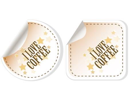 demitasse: Amo adesivi vettore caff� Vettoriali