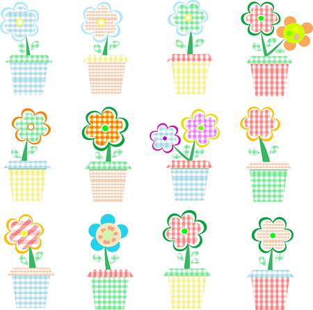 naturism: flowers in pot colorful vector set Illustration