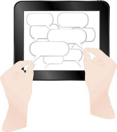 touch sensitive: Concept cloud with computer tablet pc. Vector