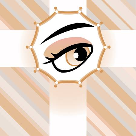 Human brown eye card. vector background Vector