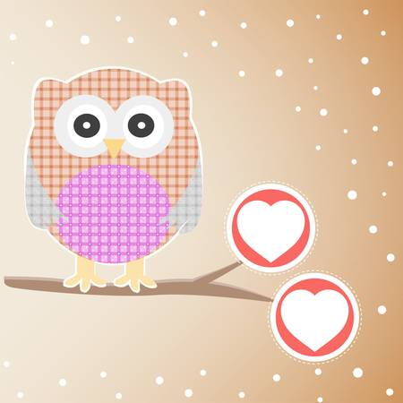 Cute Owl On The Branch with love heart Vector