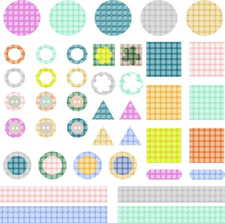 set of elements for scrapbook isolated Vector