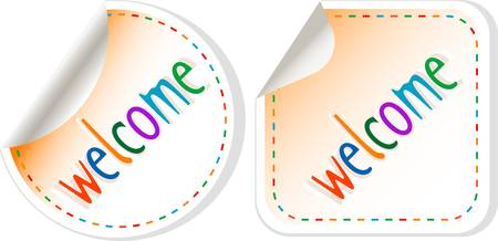Welcome stickers label set isolated on white Stock Vector - 12485367