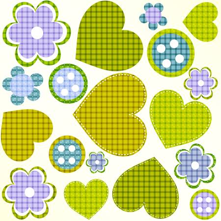 scrapbook design elements set: frames, heart, buttons, flowers