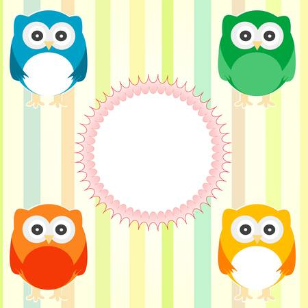 Vector cute owl card. Baby arrival announcement Vector