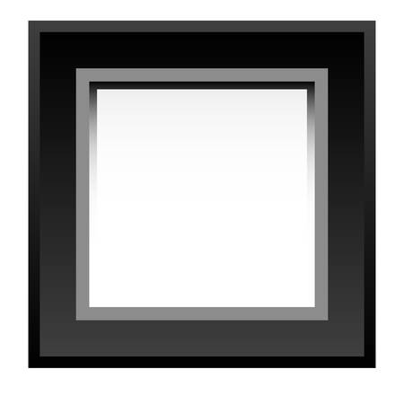 square detail: Black photo frame isolated on white background
