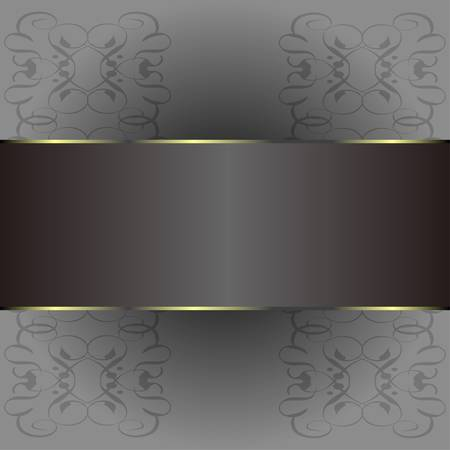 Abstract background with gold banner, vector Ilustração