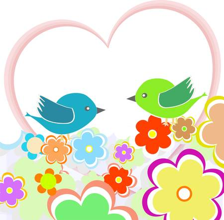 Card with birds on red heart among flowers Vector