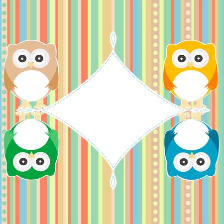 baby owl scrap background  intitation card  vector Vector