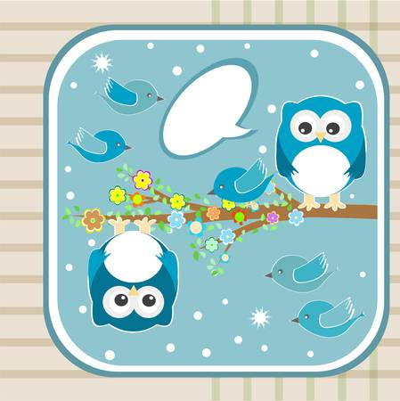 Family of owls and bird sat on a tree branch Vector