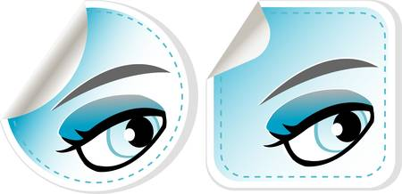 close up eyes: blue girl eyes sticker set  abstract label vector Illustration