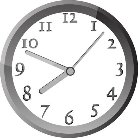 big timer: modern wall clock in silver color frame
