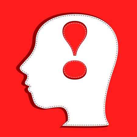 Human head with exclamation mark symbol Vector