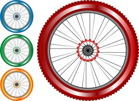 set of colored bike wheel with tire and spokes Vector