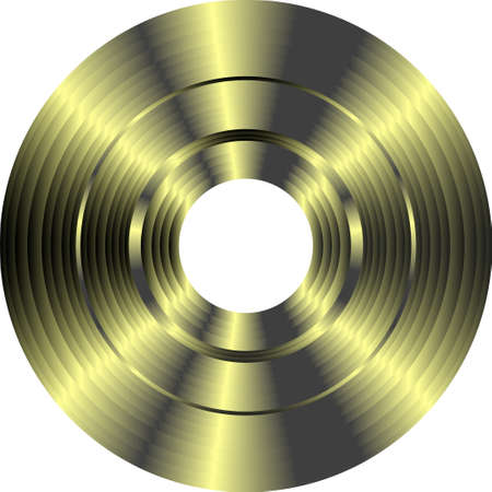 cd label: gold vinyl record isolated on white background