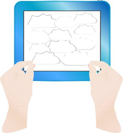 hands with bubbles on computer tablet pc Vector Stock Vector - 12485847