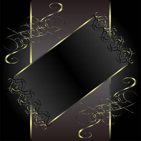 vector vintage gold floral frame with damask background Vector