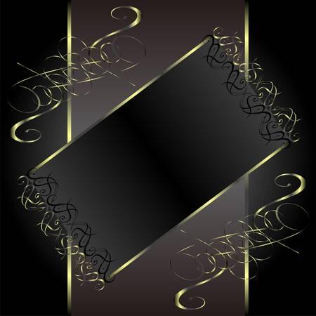 vector vintage gold floral frame with damask background Vector