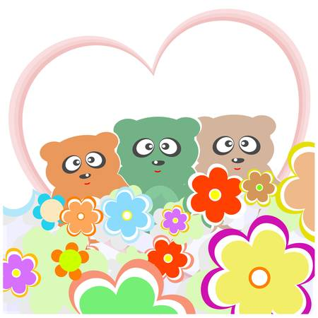 set teddy bear with many flowers and love heart. vector card Vector