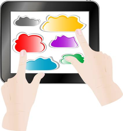 tablet pc in hand: hand pressing a paper cloud on tablet pc computer  vector illustration