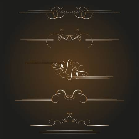 set of gold calligraphic design elements and page decoration  vintage set Vector