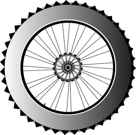 spokes: bike wheel with tire and spokes isolated on white background  vector