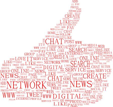 thumbs up symbol - text keywords on social media themes  vector Stock Vector - 12485793