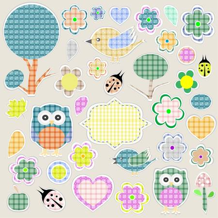 Nature textile stickers set  animals and flowers Vector