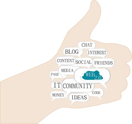 thumb up with social web concept ideas. Vector