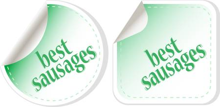 Best sausages green food stickers set Vector