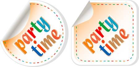 party time: Party time, jeu d'�tiquettes � la main, isol� en blanc