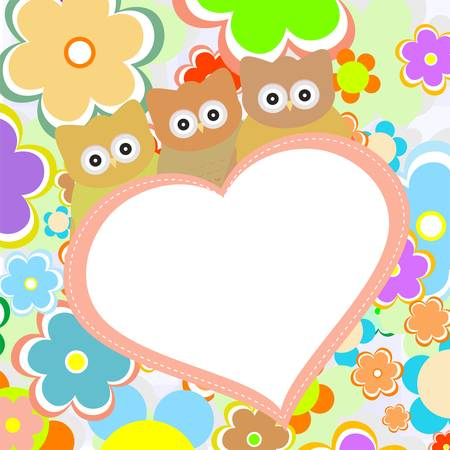 owls in flowers with big heart  vector greetings card Vector