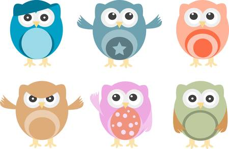 animal behavior: Set of six vector cartoon owls with various emotions